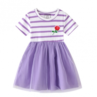 Lovely Stylish Patchwork Purple Girl Knee Length Dress