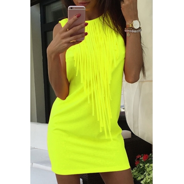 Lovely Trendy O Neck Tassel Design Green Mini Dress