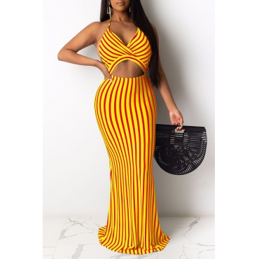 Lovely Sexy Striped Yellow Maxi Dress