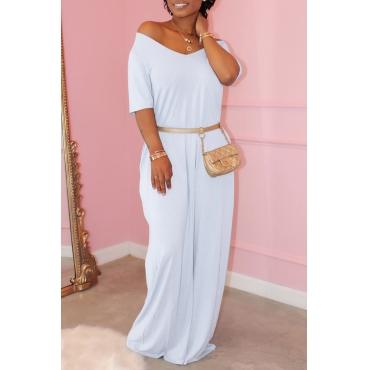 Lovely Casual Basic White Maxi Dress