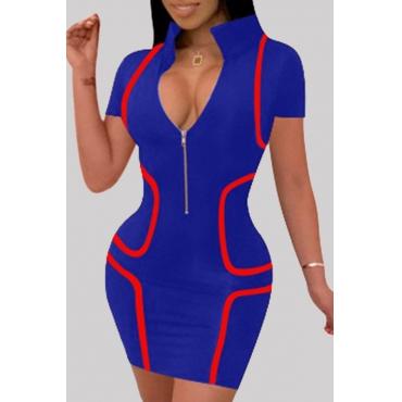 Lovely Casual O Neck Zipper Design Blue Mini Dress