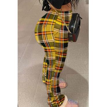 Lovely Trendy Grid Yellow Pants