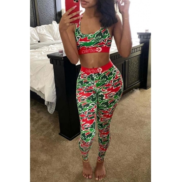 Lovely Sportswear Print Red Two-piece Pants Set