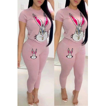 Lovely Leisure Rabbit Pink Two-piece Pants Set