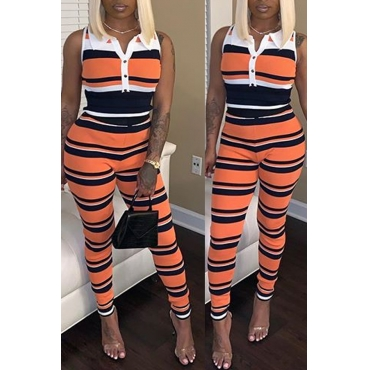 Lovely Leisure Sleeveless Striped Two-piece Pants Set