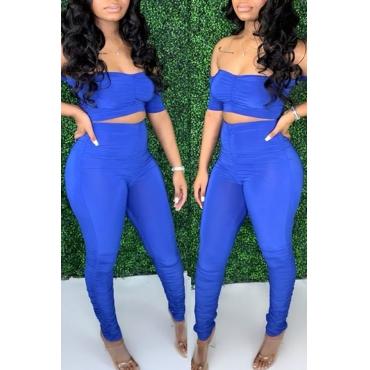 Lovely Trendy Fold Design Blue Two-piece Pants Set