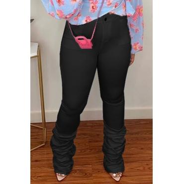 Lovely Leisure Fold Design Black Pants