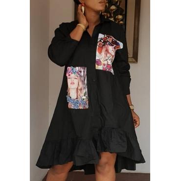 Lovely Trendy Print Black Knee Length Dress