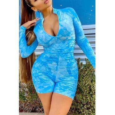 Lovely Trendy Tie-dye Blue One-piece Romper