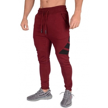 Lovely Sportswear Patchwork Wine Red Pants