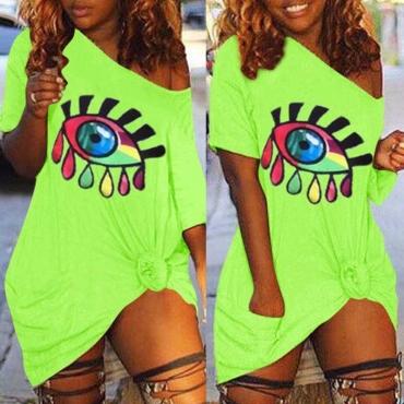 Lovely Casual Eye Print Green Mini Plus Size Dress