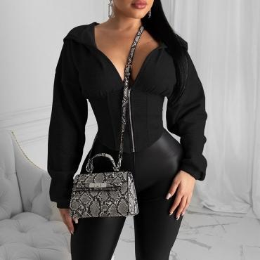 Lovely Trendy Zipper Design Black Hoodie