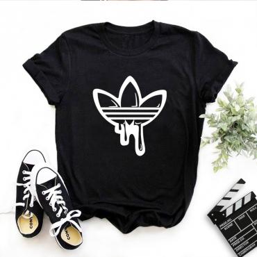 Lovely Casual O Neck Print Black T-shirt