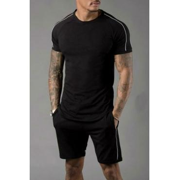 Lovely Stylish Patchwork Black Two-piece Shorts Set