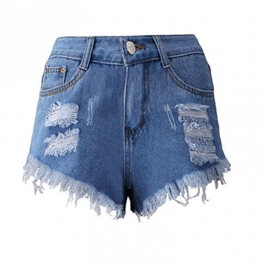 Lovely Casual Tassel Design Deep Blue Plus Size Shorts