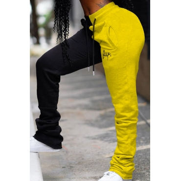 Lovely Casual Patchwork Yellow Pants