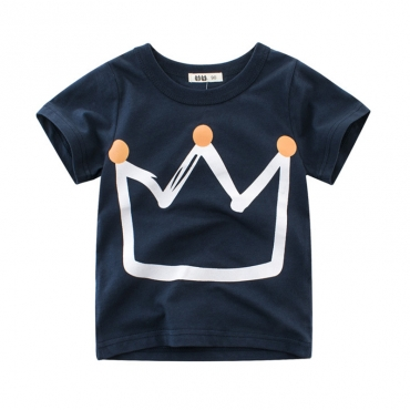 Lovely Casual O Neck Print Royalblue Boy T-shirt