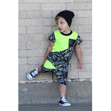 Lovely Casual Patchwork Green Boy Two-piece Shorts Set