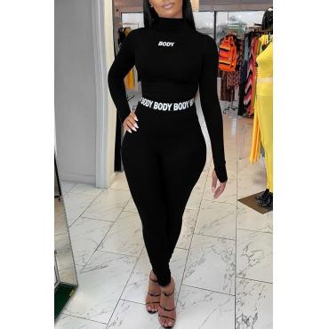 Lovely Sportswear Letter Black Two-piece Pants Set