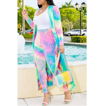 Lovely Casual Tie-dye Multicolor Plus Size Two-piece Pants Set