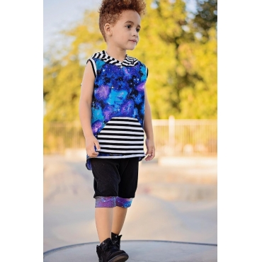 Lovely Leisure Print Blue Boy Two-piece Shorts Set