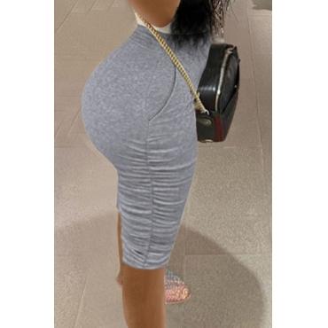 Lovely Casual Fold Design Grey Shorts