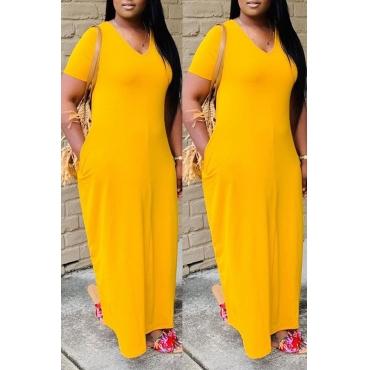 Lovely Casual V Neck Basic Yellow Ankle Length Dress