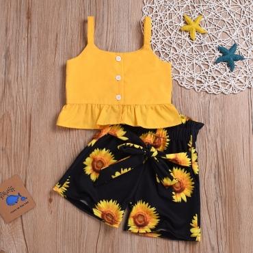 Lovely Stylish Sunflower Print Yellow Girl Two-piece Shorts Set