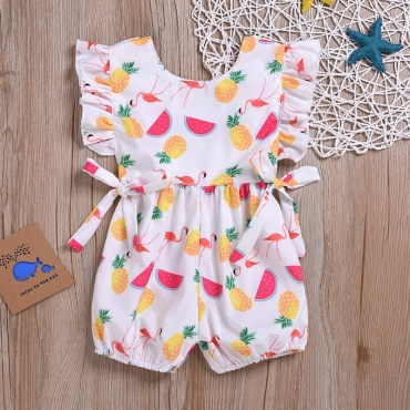 Lovely Sweet Print White Girl One-piece Romper