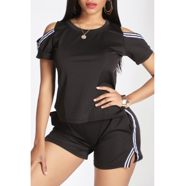 Lovely Casual Hollow-out Black Two-piece Shorts Set