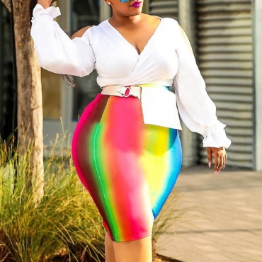 Lovely Trendy Hollow-out Multicolor Plus Size Two-piece Skirt Set
