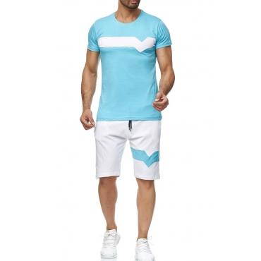 Lovely Sportswear Patchwork BlueTwo-piece Shorts Set