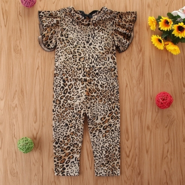 Lovely Stylish Leopard Print Girl One-piece Jumpsuit