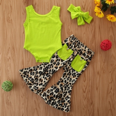 Lovely Stylish Print Green Girl Two-piece Pants Set