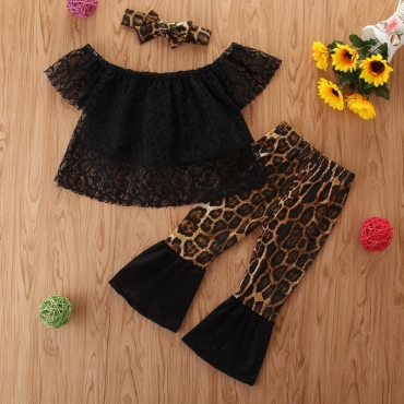 Lovely Stylish Patchwork Black Girl Two-piece Pants Set