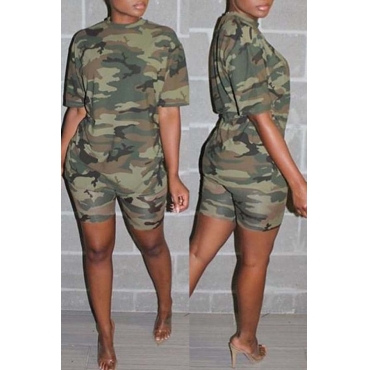 Lovely Casual Print Army GreenTwo-piece Shorts Set