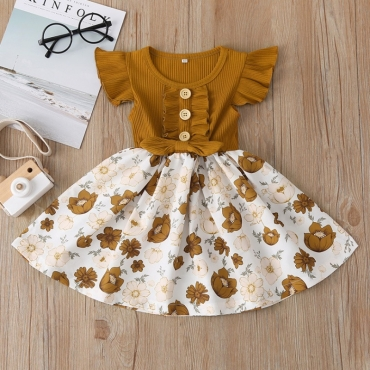 Lovely Stylish Floral Print Brown Girl Mid Calf Dress