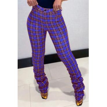 Lovely Trendy Grid Blue Pants