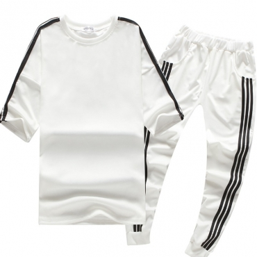 Lovely Sportswear Patchwork White Two-piece Pants Set
