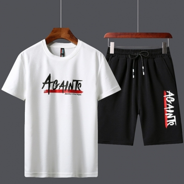 Lovely Sportswear Letter Print White Two-piece Shorts Set