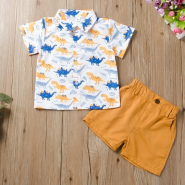 Lovely Leisure Cartoon Print Yellow Boy Two-piece Shorts Set