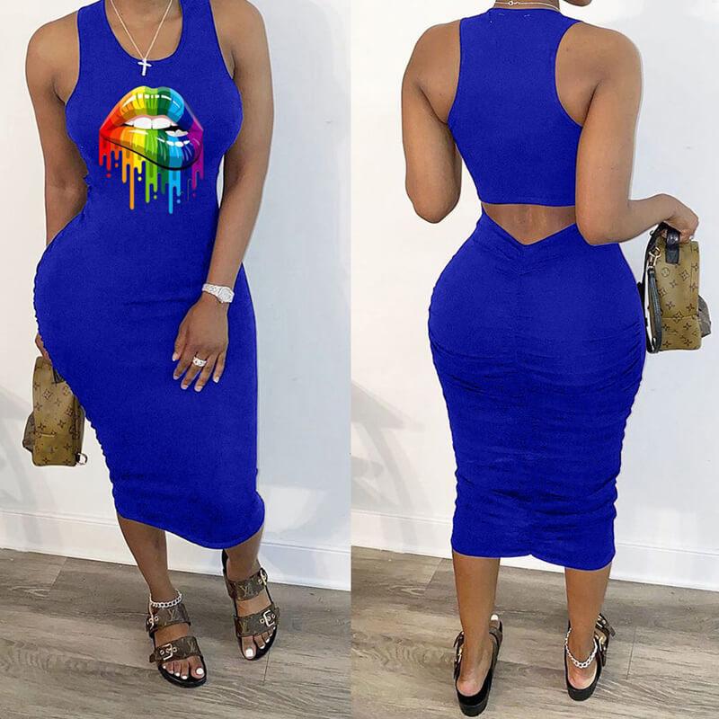Lovely Leisure Lip Print Blue Mid Calf Dress