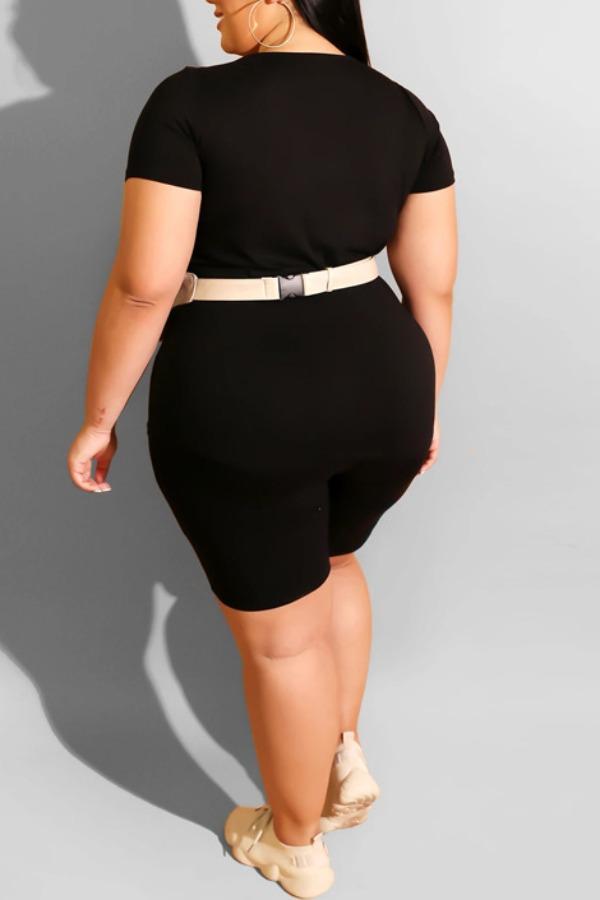 Lovely Casual Basic Black Plus Size Two-piece Shorts Set