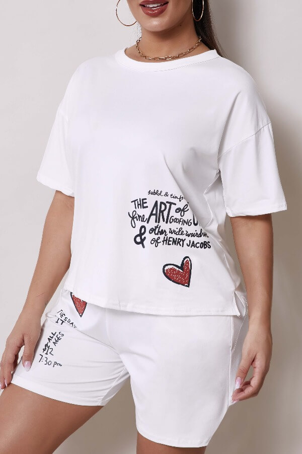 Lovely Leisure O Neck Letter Print White Two-piece Shorts Set