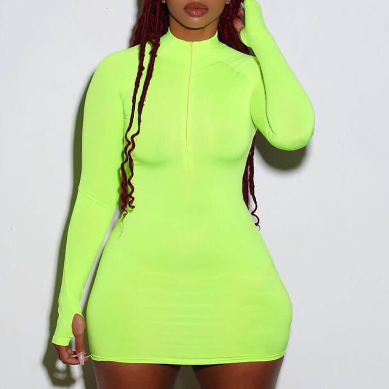 Lovely Trendy Zipper Design Green Mini Plus Size Dress