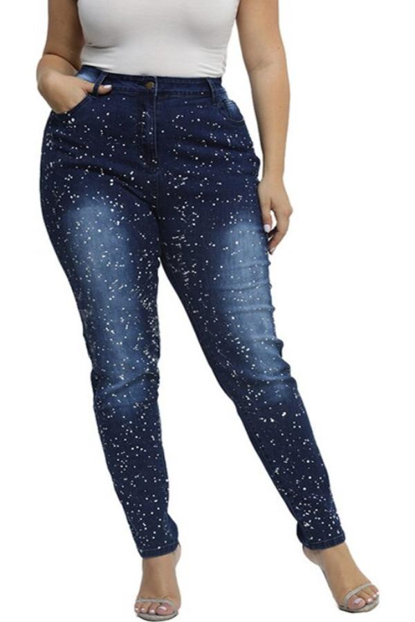Lovely Chic Dot Print Navy Blue Plus Size Jeans