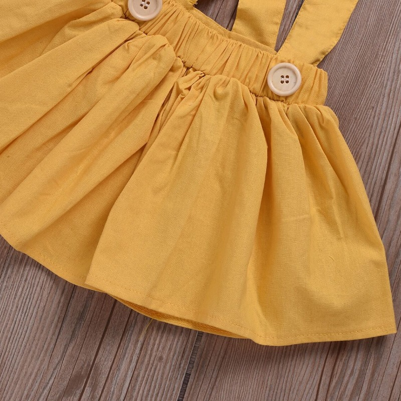 Lovely Sweet Bow-Tie Yellow Girl Two-piece Skirt Set