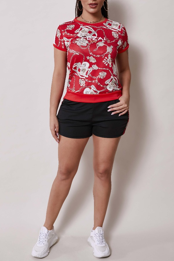 Lovely Sportswear Print Red Two-piece Shorts Set