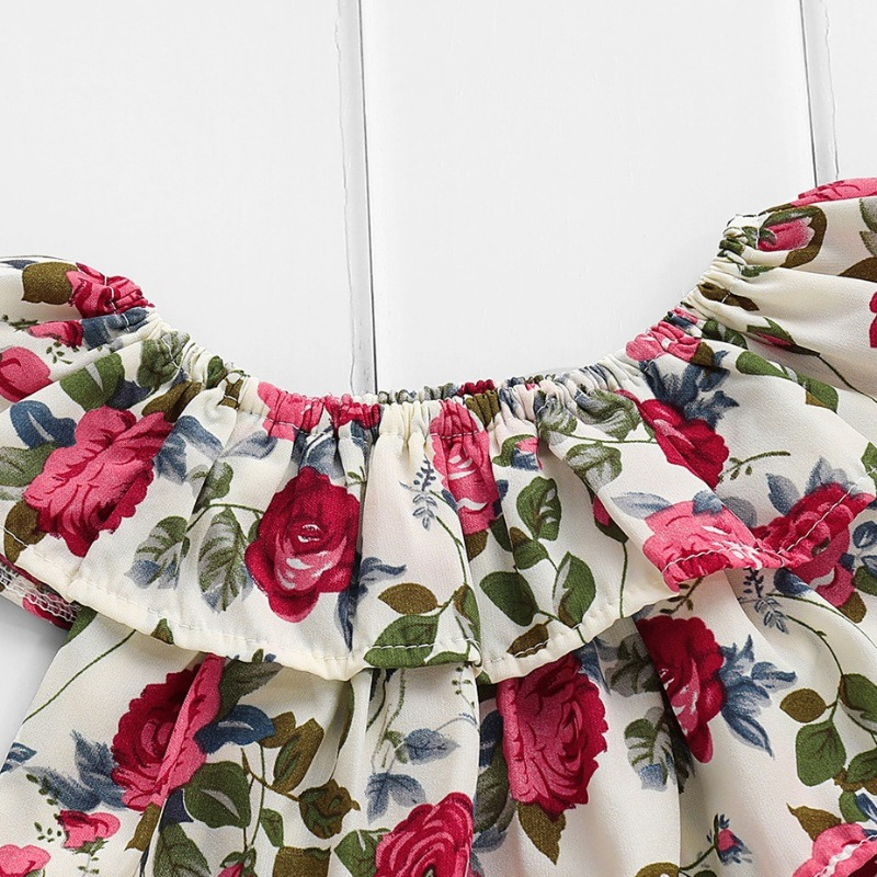 Lovely Stylish Print Blue Girl Two-piece Shorts Set