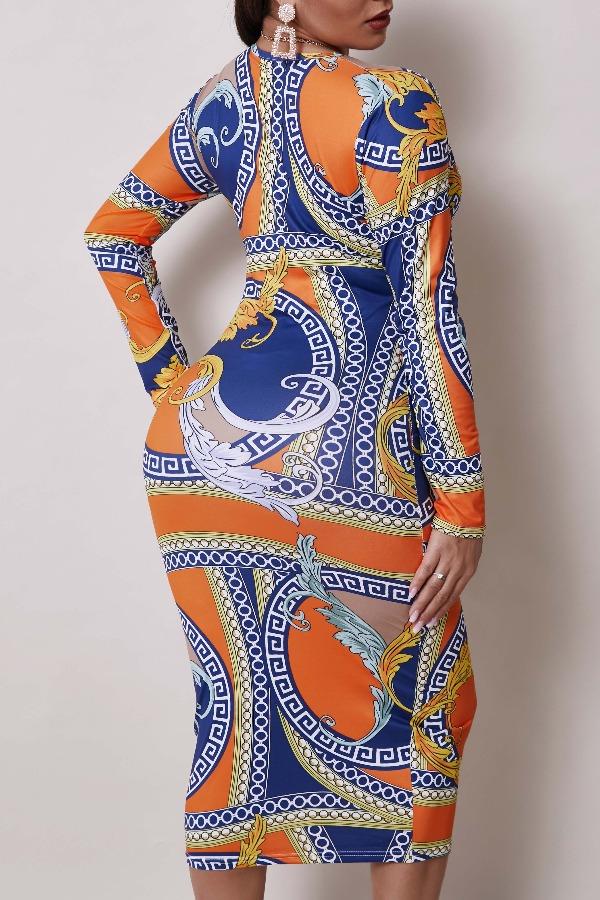 Lovely Casual V Neck Print Orange Knee Length Dress